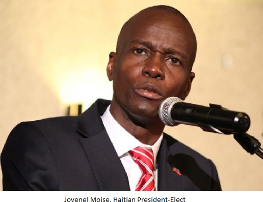 Haitian businessman Moise addresses the audience after being declared the official winner of the November 2016 presidential elections, in Port-au-Prince