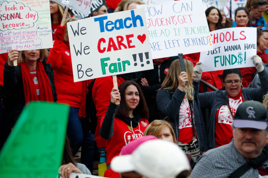 Teachers from Douglas and Jefferson counties in Colorado