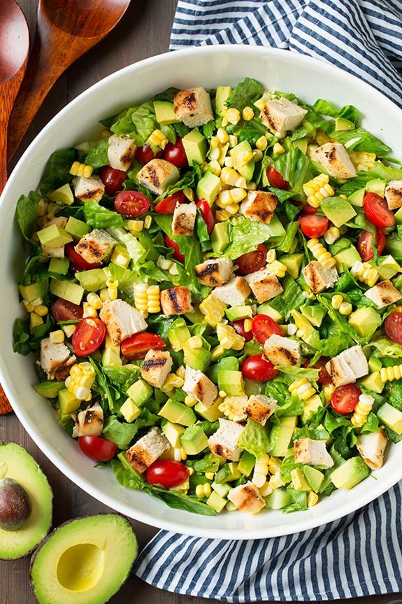 chop salad and avocado