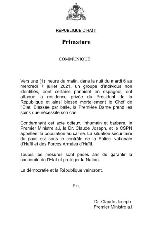 letter on jovenel death